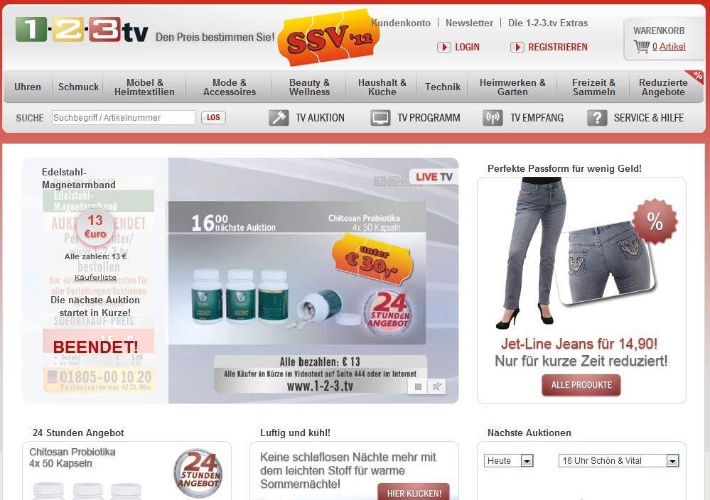 Einkaufen bei 1-2-3.tv mit 40 € Gutschein
